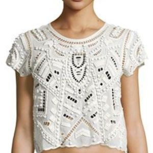 LOVERS AND FRIENDS White Beaded Xs shirt